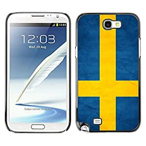 Shell-Star ( National Flag Series-Sweden ) Snap On Hard Protective Case For Samsung Galaxy Note 2 II / N7100