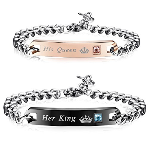 Finrezio Couples Bracelets for Women Men Her King and His Queen Bracelet Set 316L Stainless Steel Link Bracelet 2Pcs