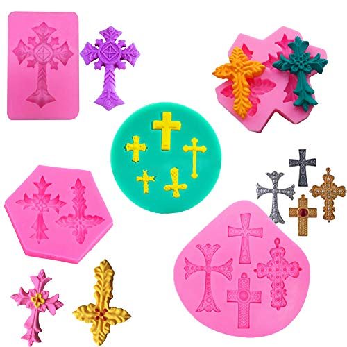 Cross Molds,Shxmlf Silicone Cross Candy Chocolate Cake Fondant Cookie Dessert Baking Mould Cupcake Toppers for Baptism Party Supplies Baby Shower Wedding Party Decorating, Set of 5