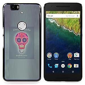 """For Huawei Google Nexus 6P Case , Idea Luz Poster divertido del cráneo del bulbo gris"""" - Diseño Patrón Teléfono Caso Cubierta Case Bumper Duro Protección Case Cover Funda"""