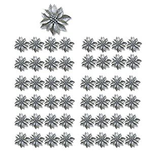 "BANBERRY DESIGNS Artificial Poinsettia Flowers – Set of 48 – 3 ¾"" Silver Glittered Poinsettia Clip On Ornaments – Christmas Decorations – Decorative Floral Accessories"