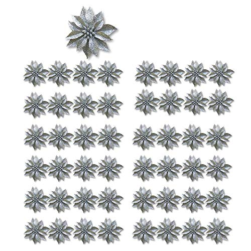 BANBERRY DESIGNS Artificial Poinsettia Flowers - Set of 48 - 3 ¾