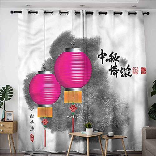 (XXANS Blackout Curtains,Lantern,Mid Autumn Festival Art,Space Decorations,W96x72L)