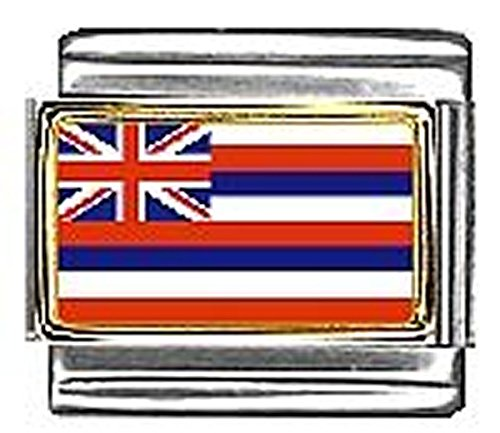 State of Hawaii Photo Flag Italian Charm Bracelet Jewelry Link 9mm