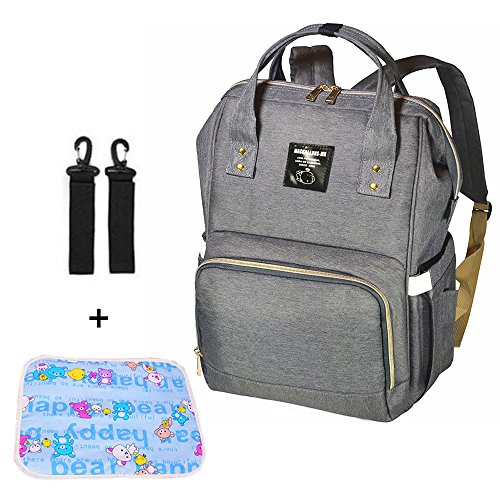 Mastery Baby Diaper Bag Backpack – Large Capacity Waterproof Travel Nappy Bags with Changing pad and Stroller Straps – Stylish and Durable Organizer for Women, Men, Toddler and Newborn (Gray)