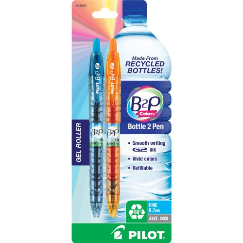 Pilot B2P Colors - Bottle to Pen - Retractable Gel Roller Pens Made from Recycled Bottles, Fine, 2-Pack, Assorted Colors (36622)