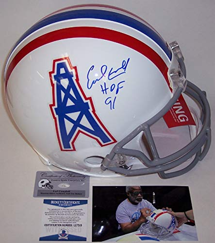 Earl Campbell Autographed Hand Signed Houston Oilers Full Size Authentic Helmet - BAS Beckett - Hand Signed Houston Oilers