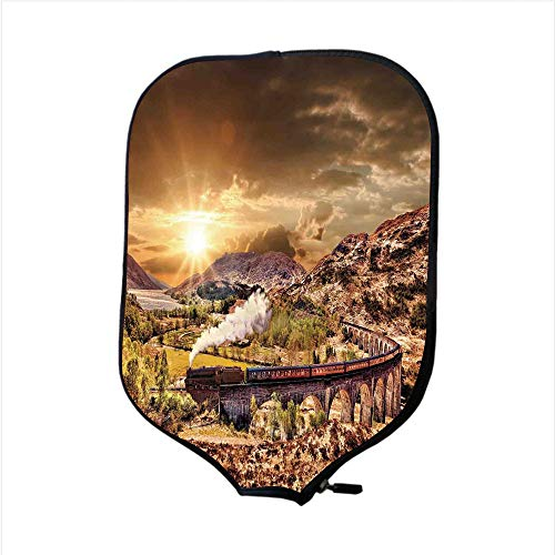 (iPrint Neoprene Pickleball Paddle Racket Cover Case,Wizard,Wizard School Express Famous Train Landscape Glenfinnan Railway Viaduct Scotland Sunset,Brown,Fit for Most Rackets - Protect Your Paddle)