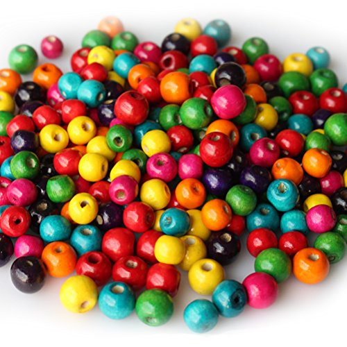 Green Bead Round 12mm - 400 PCS Assorted Color Round Wood Beads Wooden Spacer Beads for DIY Jewelry Making, 2 Sizes, 10mm and 12mm