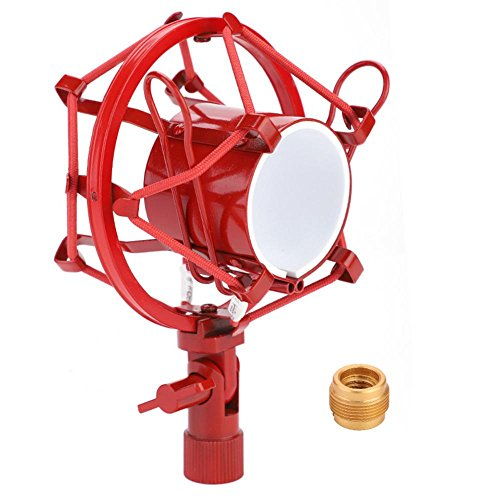 (Microphone Shock Mount, Metal Microphone Shock Mount Holder Clip Anti Vibration Recording (Red))