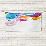 Chaneyhouse Colorful,Travel Towel,Abstract Splash Drops with Computer Digital Concept Paintbrush Watercolor Effect,Quick-Dry Towels,Multicolor Size: W 14'' x L 27.5''