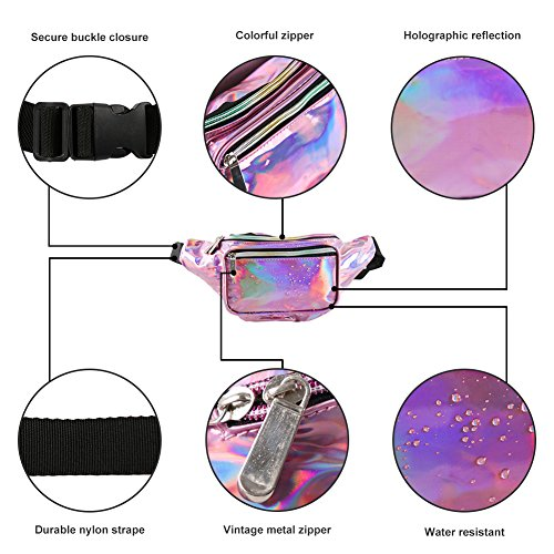 Holographic Fanny Pack for Women - Waist Fanny Pack with Adjustable Belt for Rave, Festival, Travel, Party by Mum's memory (Image #4)