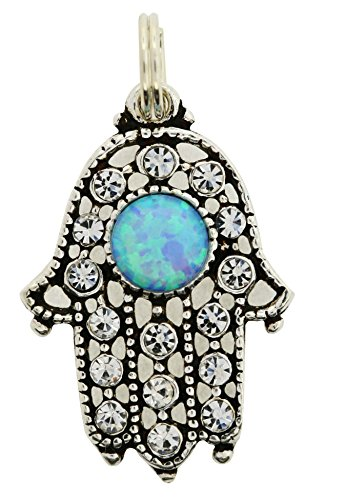 - Sterling Silver Hamsah Pendant Yemenite Filigree Design Opal Stone 1