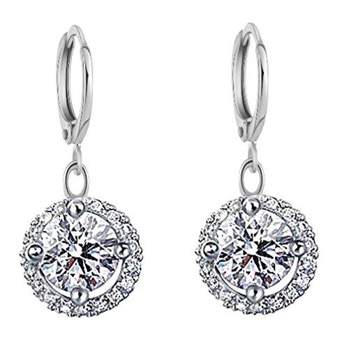 YAZILIND Jewelry Silver Plated Cubic Zirconia Hoop Dangle Drop Earrings for Women