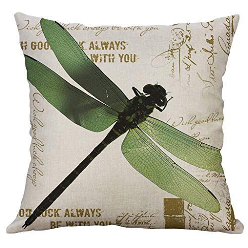 Sinfu Dragonfly+Butterfly Print Throw Pillow Case 18 x 18 Inch for Super Soft Sofa Home Decor Cushion Cover Rectangle Creative Happy Easter Spring Square Cover Case Gift (D)