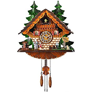 Image of Kintrot Cuckoo Clock Traditional Chalet Black Forest House Clock Handcrafted Wooden Wall Pendulum Quartz Clock Home and Kitchen