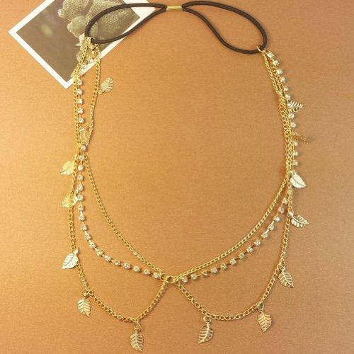 Thinkmax Elegant Leaves Crystal Headband Chain Hair Accessories Headband - Arora Mall