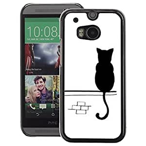 A-type Arte & diseño plástico duro Fundas Cover Cubre Hard Case Cover para HTC One M8 (Cute Kitten White Street Minimalist)