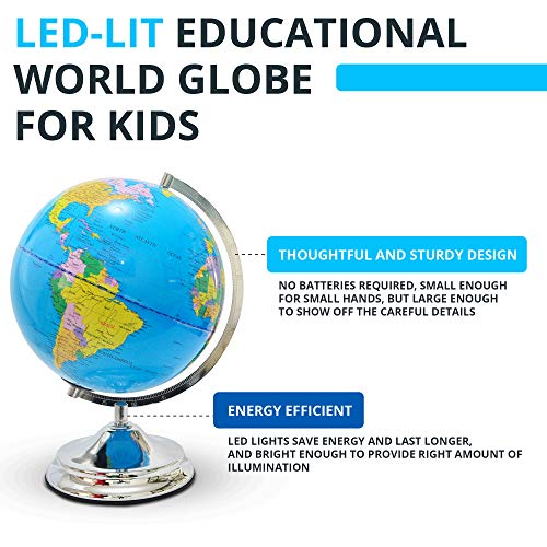 Illuminated Kids Globe with Stand – Educational Gift with Detailed World Map and LED Night Light (Power Cord Included) by Home Premium (Image #1)