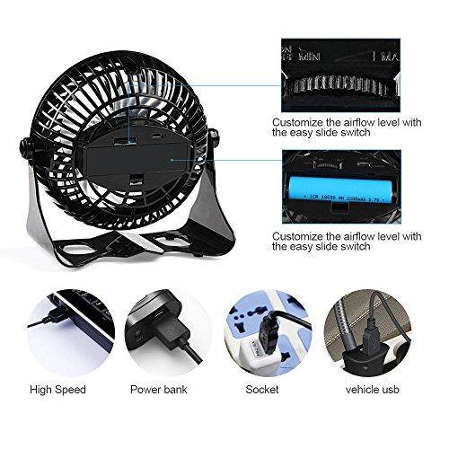 Battery Operated Desk Fan : D fantix small quiet desk fan usb rechargeable desktop