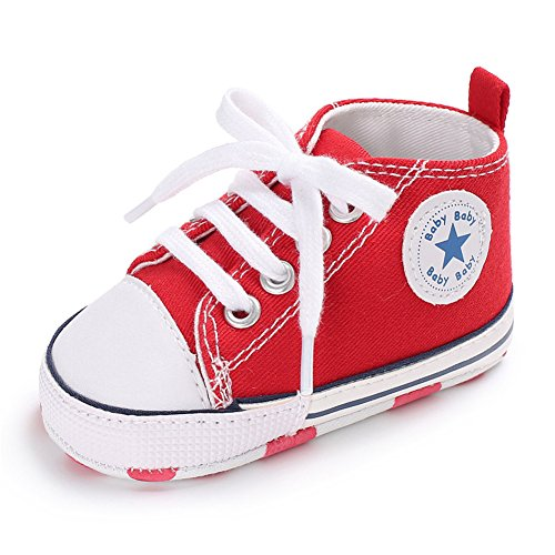 Lovely Canvas Baby Sneaker Antiskid Soft Cute Trainer Shoes 0-18M (L: 12~18 Months, Red)]()