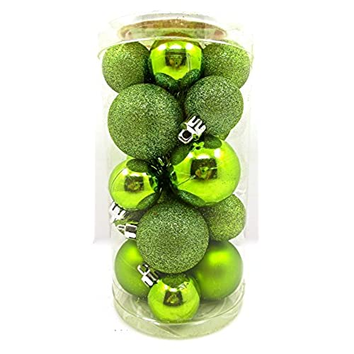 holiday time mini ornament setshatterproof shiny bulbs with glitter20x lime green - Lime Green Christmas Tree Decorations