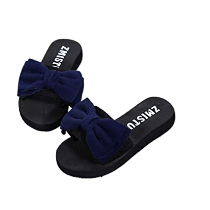 c09fcc7f2b222 Image Unavailable. Image not available for. Color: Women Women Bow Summer  Sandals Slipper Indoor Outdoor Flip-flops ...