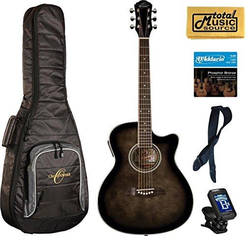 Oscar Schmidt OACEFTB Select Spruce Catalpa Auditorium Acoustic-Electric Guitar Bundle w/Bag