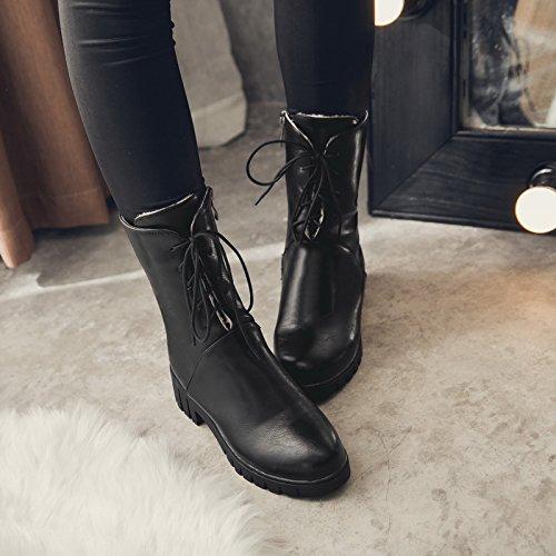 Stuur Dames Herfst Zip Veterschoenen Middenrif Jodhpur Laarzen Zwart