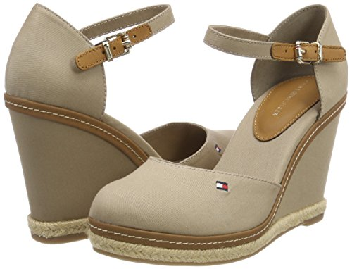 Basic Hilfiger Beige 068 Closed Iconic Espadrilles Tommy Femme Toe Wedge cobblestone pqPwKEd
