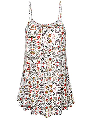 Top Tank Knit Pattern (Cestyle Womens Strappy Tank Tops, Ladies Floral Tunic Camisoles Boat Neck Flowery Patterned Strecthy Knit Form Fitting Shirts Kint Vacation Holiday Outfits Night Out Party Clothing White Medium)