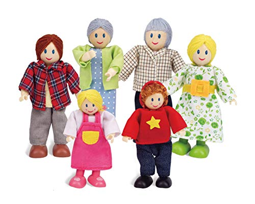 Award Winning Hape Caucasian Doll Family Set for Kid's Dollhouses (Hope Dolls)