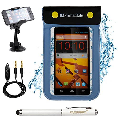 Blue SumacLife Waterproof Dry Pouch Bag Case for BLU Life Pure XL / BLU Studio 5.5 S Smart Phones + 3.5mm Auxiliary Cable + Windshield Mount