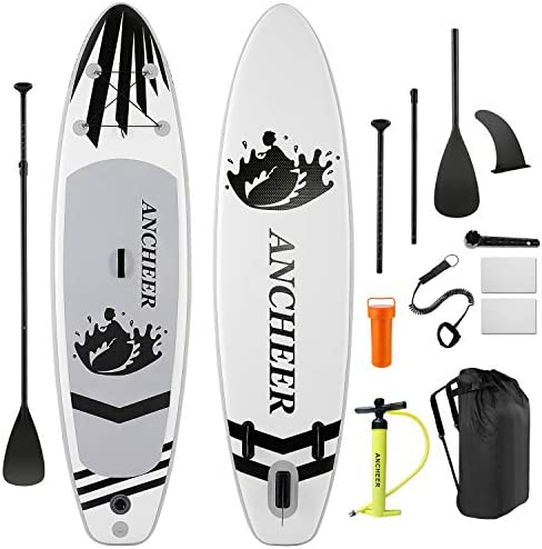 ANCHEER Inflatable Stand Up Paddle Board 6 Inches Thick , iSUP Package W Premium SUP Accessories Backpack, Wide Non-Slip Deck, Big Fin, Adjustable Paddle, Leash, Hand Pump, Youth Adult