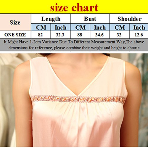 Zhhlaixing Summer Womens Silk Loose Sleep Skirt Pyjama Home Sweet Princess Nightwear Pale Pink