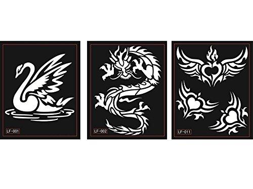 3 fogli Cigno Drago Ali Tattoo Stencil Tatuaggi Per Tatuaggio scintillio tatuaggio e airbrush tatuaggio Tie