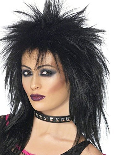Uwant Fashion Black Rock Diva Wig Ladies 80S Fancy Dress Accesssory Wig 1980S Punk Wig by Uwant Fashion (80s Womens Fancy Dress)