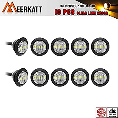 Meerkatt (Pack of 10) 3/4 Inch Mini Clear Lens Amber Light Round Side Marker Indicator Lamp SMD 2835 Bulbs Extra Bright for Van Camper Trailer Truck ATV Lorry SUV 12v DC with Resin Waterproof 3led-HL: Automotive