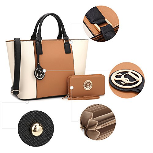 Satchel Brown Women's Shoulder Handbag Matching Large Bag Wallet Designer 6417 Beige Tote Dasein Purse Laptop Structured Top Bag Handle zqZqngHP