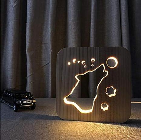BIANXU Forma de lobo Manualidades de madera Luz nocturna ...