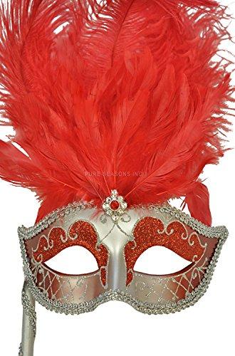 Pure Seasons Colombina Vanity Fair Venetian Mask (Red/Silver)-Standard