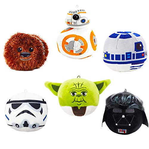 Star Wars Christmas Ornaments Set -- 6 Deluxe Hallmark Plush Ornaments Featuring Yoda, Darth Vader, Chewbacca, Stormtrooper, R2-D2 and BB8 (Ultimate Collection) -