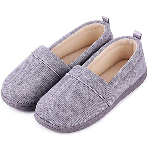 Women's Comfort Cotton Knit Memory Foam House Shoes Light Weight Terry Cloth Loafer Slippers w/Anti-Skid Rubber Sole (10 B(M) US, Light - Foam Terry