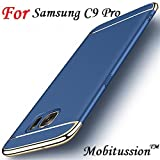 For Samsung Galaxy C9 Pro Cover - BlueGold - MobiTussion New Luxury Smart 360 DEGREE 3in1 back Cover case For samsung C9Pro back cover case (BlueGold)
