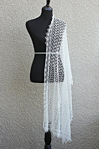 Knit wedding shawl with laced body and border by KGThreads