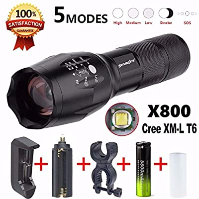 LandFox® Flashlight,X800 Flashlight LED Zoomable Military Torch G700 SkyWolfEye with Battery Charger