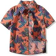 Hawaiian Shirts Boys Print Beach Aloha Holiday Party Camp Short Sleeve T-Shirts & Short