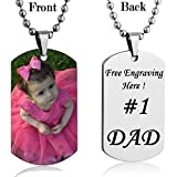 Personalized Custom Photo Color Dog Tag Necklace Pendant 24 i Stainless Steel Chain Giftpouch and Keyring Personalized Customized on Backside