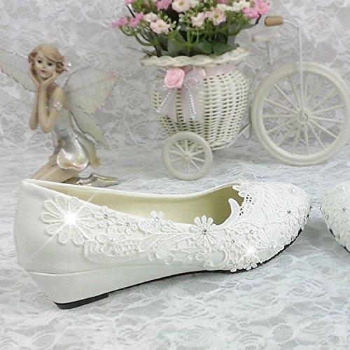 White con scarpe Pearl singolo fiori strass Bianco di con damigella Pizzo scarpe nuziale Cuneo JINGXINSTORE IwpBqvx