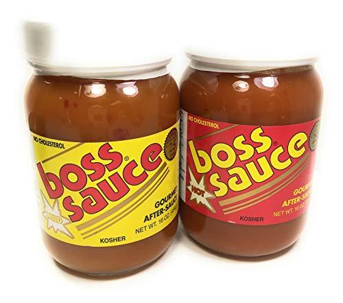 Boss Sauce MILD HOT Gourmet After-Sauce 2 Pack, 16 Oz. Hot Sauce, All-Natural, Kosher Fish Sauce, BBQ Sauce, Chicken Wings, Wing Sauce, meat sauce, simmer sauce, chicken sauce